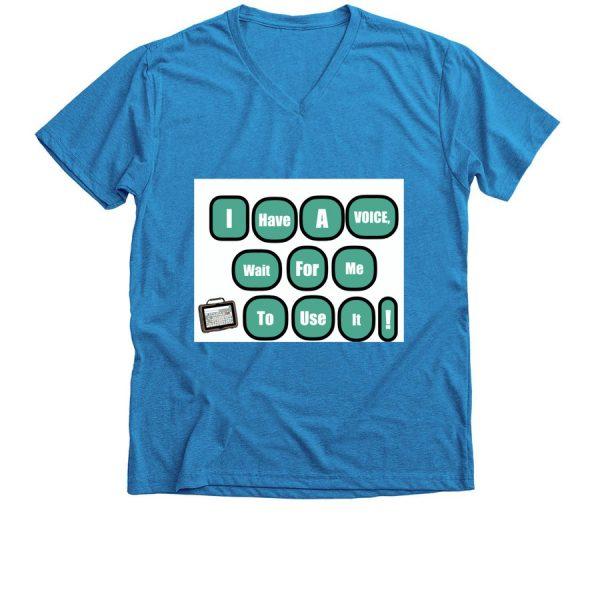blue I have a voice vneck tshirt-front