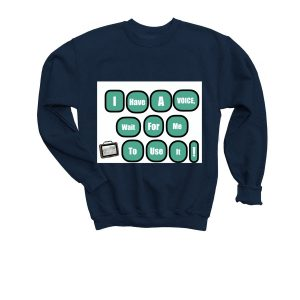 youth I have a voice sweater - navy color
